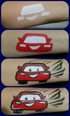easy body painting Car / Carz step by step Face Painting Tutorials, Face Painting Designs, Painting Patterns, Paint Designs, Belly Painting, Car Painting, Tole Painting, Tinta Facial, Face Painting For Boys