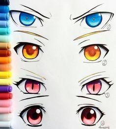 Drawing Manga Eyes: Yato, Yukine, Bishamonten and Hiyori Realistic Eye Drawing, Manga Drawing, Drawing Tips, Drawing Reference, Drawing Sketches, Art Drawings, Cartoon Drawings, Animae Drawings, Drawing Ideas