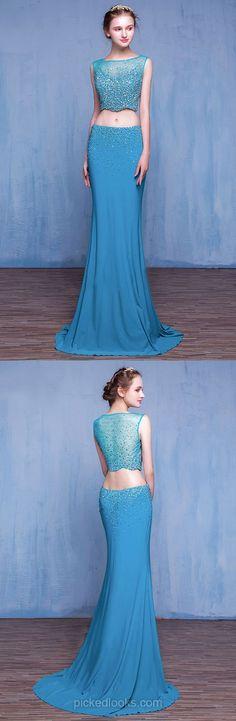 Long Ball Dresses Two Piece, Blue Prom Dresses Mermaid, Cheap Party Dresses for Teens, Chiffon Graduation Dresses 2018