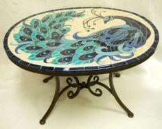 "PEACOCK Mosaic Handmade Ceramic Tile Accent  Coffee Table  28"" x 21""  R"