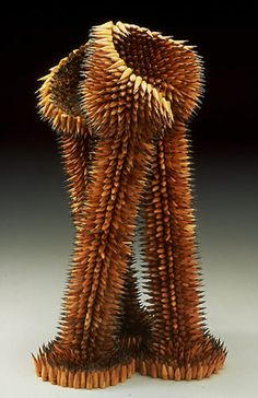 Sea urchin sculptures made from pencils by Jennifer Maestre