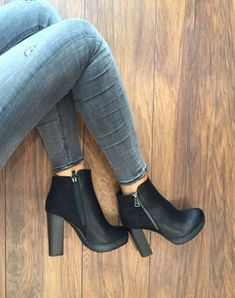 - Women shoes Flats Receptions - Women shoes For Fall High Heels Black Heeled Ankle Boots, Ankle Shoes, High Shoes, Shoes Heels Wedges, Wedge Boots, High Heel Boots, Black Heels, Shoe Boots, Black Boots