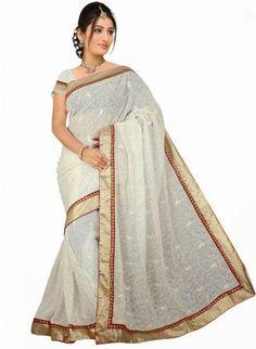 Elegant white #Chiffon_Saree With Gloden Border