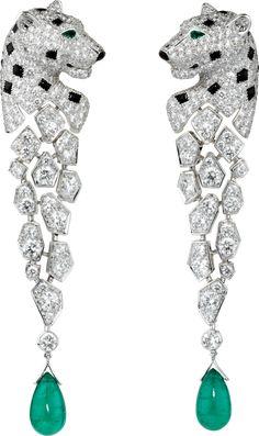 Panthère de Cartier earrings White gold, emeralds, onyx, diamonds