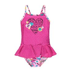 Skirted One-Piece Swimsuit Multi Pink / Maillot une-pièce à jupette Souris Mini Girl House, Cute Illustration, Swimsuits, Swimwear, Motifs, Mini, One Piece Swimsuit, Boy Or Girl, Cover Up