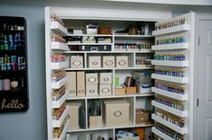 The ultimate organized craft closet!- I'd like to replace the folding doors on my closet with french doors.