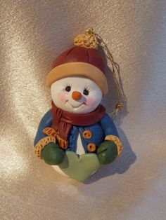 snowman Christmas ornament polymer clay personalized by clayqts, $15.95