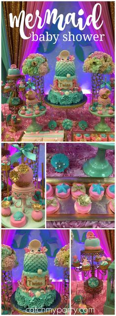 What a pretty mermaid baby shower party for twins! See more party ideas at Catchmyparty.com!