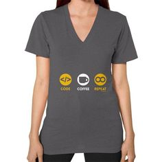 CODE COFFEE REPEAT V-Neck (on woman) Shirt