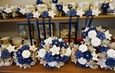 Custom Wedding Kusudama Origami Paper Flower Package - Bouquets, Bridesmaid Bouquet- Navy, White, Map
