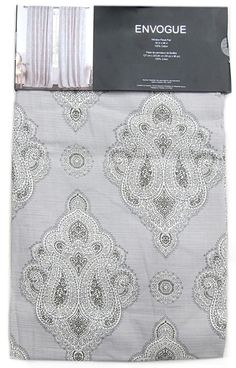 "ENVOGUE Gray Ornate Medallions Window Curtain Panels Set of 2 Drapes Pair 96"" #Envogue #Contemporary"