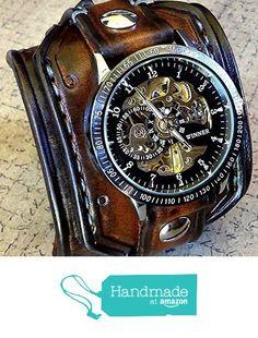 Steampunk Leather Wrist Watch, Skeleton Men's watch, Aged brown Leather Cuff, Bracelet Watch, Watch Cuff from Cuckoo Nest Art Studio https://www.amazon.com/dp/B016LJ9RCA/ref=hnd_sw_r_pi_dp_mKgwwbQ1TVK0Y #handmadeatamazon