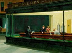 My other favorite at The Art Institute.  Edward Hopper Nighthawks   1942 (120 Kb); Oil on canvas, 30 x 60 in; The Art Institute of Chicago