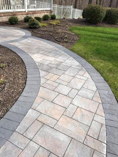 Mounting a Block or Paver Walkway – Outdoor Patio Decor Front Walkway Landscaping, Front Yard Walkway, Concrete Walkway, Paver Walkway, Stone Walkway, Home Landscaping, Stone Pathways, Paver Sidewalk, Concrete Overlay