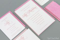 Real Card Studio: Pink Glitter and Letterpress Bat Mitzvah Invitation