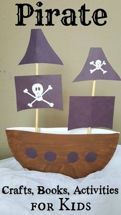 3D Pirate Ship Paper Plate Craft for kids - SO cool for preschool and older elementary kids! Great craft for birthday parties and summer fun too! LOVE that the pirate ship stands up all by itself - cool centerpiece!