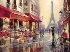 brent heighton April in Paris Stretched Canvas Print / Canvas Art for sale - paintingandframe.com