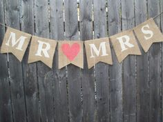 Ivory Coral Rustic Burlap Mr and Mrs Banner by BurlapElegance, $18.00