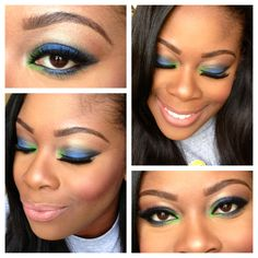 """Peacock Inspired Makeup!! Created using Bh Cosmetics palette """"Take Me to Brazil"""""""