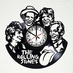 The Rolling Stones Vinyl Record Wall Clock Personalized 12 Inch Modern Wall Art Record Time Clock Vinyl Record Projects, Vinyl Record Clock, Record Wall, Rolling Stones Vinyl, Best Wall Clocks, Wall Clock Online, How To Make Wall Clock, Clock Art, Wood Carving Art