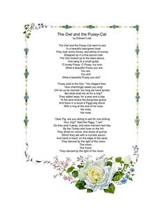 """""""The Owl and the Pussy-Cat"""" poem by Edward Lear"""