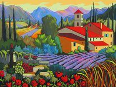 L'esprit Provençal by Louise Marion - Louise Marion, artiste peintre, paysage urbain, Quebec, couleurs