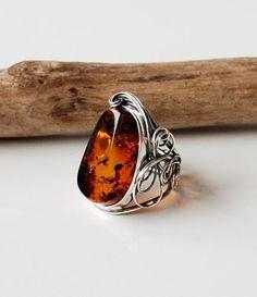 Beautiful Natural Cognac Baltic Amber Ring, Beautiful Cognac Amber Ring, Amber And Sterling Silver Adjustable Ring, Baltic Amber Jewelry