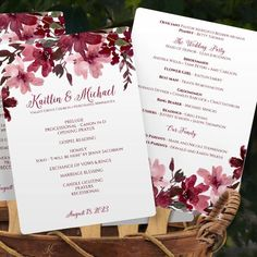 Wedding Fan Program - DOWNLOAD Instantly - EDITABLE TEXT - Painted Bliss Bouquet (Marsala) 5 x 7   Perfect for Fall