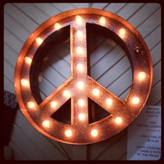 marquee peace sign