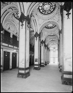 New York City, 149 Broadway. Interior of the Singer Building, hallway looking toward entrance.