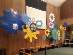 Wesley Methodist Church Workshop of wonders main stage.... lots of gears, cut out of foam core and spray painted.