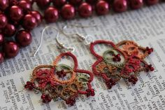 Miss autumn - unique tatted lace earrings - with beads