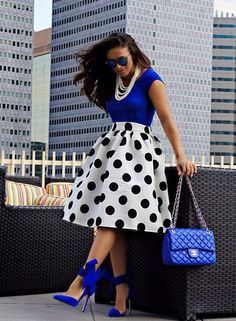 With plainer shoes, and maybe a different purse. [Royal Blue Chanel and Polka Dots]
