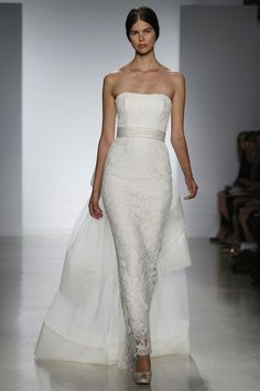 Amsale Bridal Spring 2014 I Like This Narrow Column Look With An Tulle Train