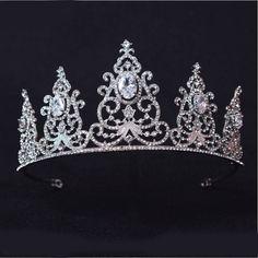 Bridal Tiara The Crystal Crown Princess Pageant Prom Queen Veil Rhinestone  Tiara Headband Wedding Hair Accessory dd007125e00d