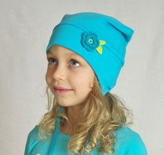 Girl hat beanie winter spring cotton jersey turquoise by Lupeworks, $24.00