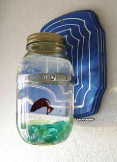 """Mason Jar Fish Tanks for Beta Fish, by Katherine """"MayugeSeishou"""" Stocking"""