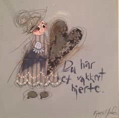 Du har et vakkert hjerte. Crazy Quotes, Colorful Paintings, Holidays And Events, Cardmaking, Machine Embroidery, Quilting, Scrap, Words, Decor
