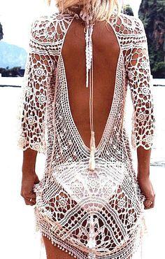 Häkel Sommerkleid in weiß rückenfrei Strandkleid im Boho Hippie Ibiza Style   Kleidung & Accessoires, Damenmode, Kleider   eBay!