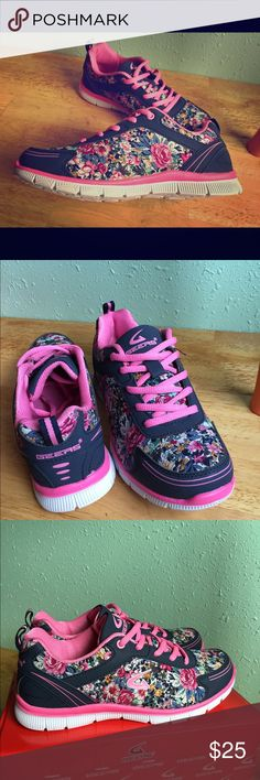 Navy and hot pink floral pattern sneakers NWT in box shoes. True to size. Floral pattern is ready for summer. Their low profile look combined with the flowers makes them look great with shorts and even sun dresses of you need to wear close toed shoes. Geers Shoes Sneakers