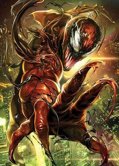 Venom Battle Lines variant cover - Carnage by Maxx Lim * Venom Spiderman, Marvel Venom, Spiderman Art, Venom Comics, Marvel Comics Art, Marvel Comic Books, Avengers Comics, Comic Books Art, Comic Art