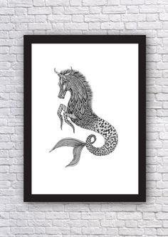 Kelpie Art Print // Mythical Creature // Water Spirit by MenisArt