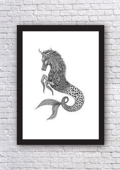 Kelpie Art Print // Mythical Creature // Water Spirit by MenisArt