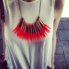 velvet-fridays:    Outfit: Sass and bide necklace, Alice Mccall tank top and Rebecca Minkoff bag