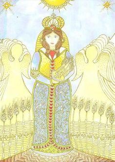 Boldogasszony with angels from Magyar mythology.