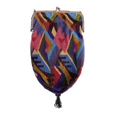 For Sale on - From a Beverly Hills collector, deep rich jewel tones are combined with chocolate brown, cream and black beads in a stunning Art Deco design. The bag has Vintage Purses, Vintage Bags, Vintage Handbags, Louis Vuitton Handbags, Purses And Handbags, Leather Handbags, Beaded Purses, Beaded Bags, Handbag Accessories