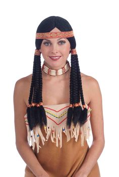 This injun princess is looking native in the Black Braided Adult Costume Wig.