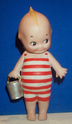 RARE Antique Bisque Kewpie in Bathing Suit Down at Seashore O'Neill Germany