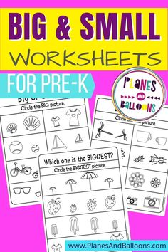 Free printable preschool sorting activity - sorting by size big and small. Pre-k size sorting worksheets for early math learning at home or in the classroom.