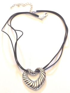 Silver Tone Heart Black Strips Necklace
